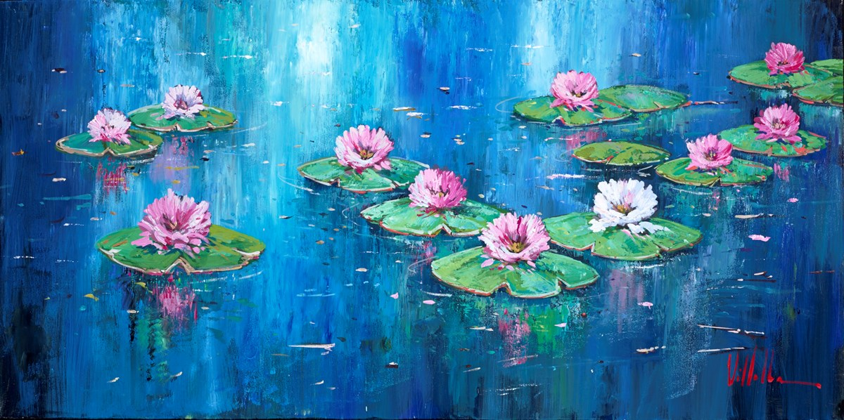 Pink Lilies II by villalba -  sized 39x20 inches. Available from Whitewall Galleries